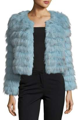 Alice + Olivia Fawn Fox Rabbit Fur Cropped Jacket $1,395 thestylecure.com