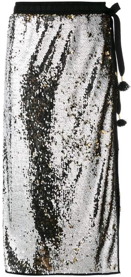 'nude' embellished midi skirt