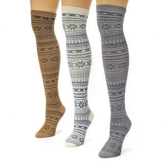 Muk Luks Womens 3-pk. Microfiber Over-the-Knee Socks
