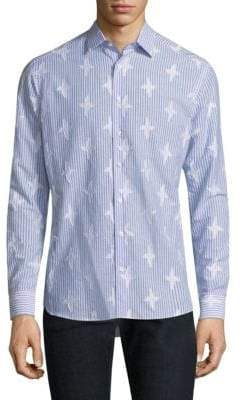 Etro Star-Patch and Stripe Cotton Button-Down Shirt