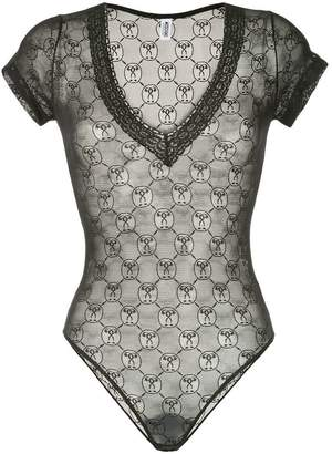 Moschino monogrammed lace bodysuit
