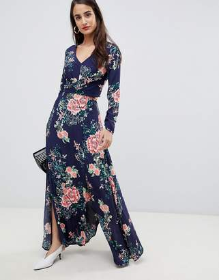 Liquorish floral print cutaway maxi dress