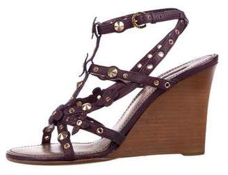 Louis Vuitton Leather Monogram Wedge Sandals