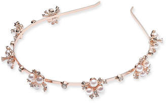 INC International Concepts I.N.C. Rose Gold-Tone Crystal & Imitation Pearl Flower Headband, Created for Macy's