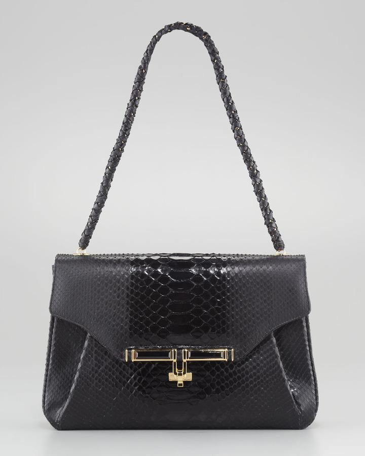 Kara Ross Urbana Python Tote Bag, Black
