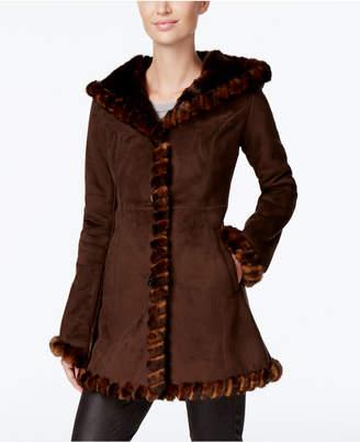 Jones New York Faux-Fur-Trim Faux-Suede Walker Coat $420 thestylecure.com