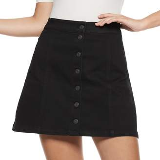 Mudd Juniors' Button Front Denim Skirt