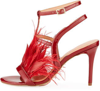 Halston Tasha Patent Feather Pumps, Red
