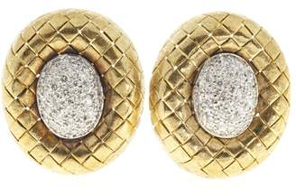 18K Yellow & White Gold Diamonds Oval Button Dome Earrings