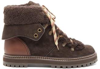 See by Chloe Eileen Shearling Lined Suede Boots - Womens - Dark Brown
