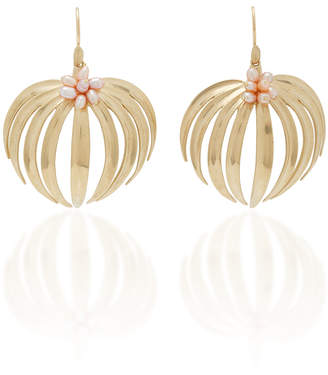 Annette Ferdinandsen Palm 14K Gold Pearl Earrings