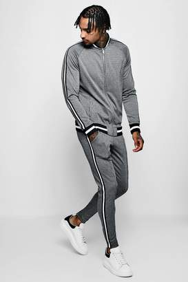 boohoo Bomber Dogstooth Jacquard Tracksuit With Tape