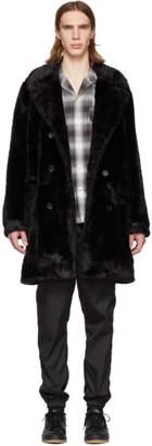 Wacko Maria Black Faux-Fur Coat