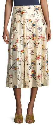 Tory Burch Vance Pleated Dance-Print Silk Midi Skirt