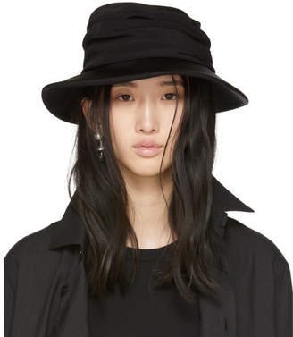 Y's Ys Black Gather Cloche Hat
