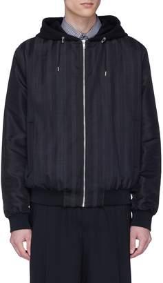 McQ Stripe virgin wool-cotton hooded jacket