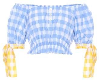 Caroline Constas Bardot Tie plaid cotton crop top