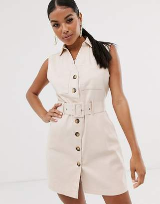 NA-KD Na Kd mini sleeveless utility style dress with belt in light beige
