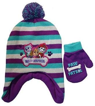 Nickelodeon Paw Patrol Girls striped Scandinavian Hat and Mittens Set - Size [4013]