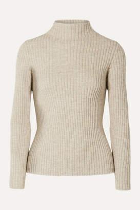 Mansur Gavriel Ribbed Alpaca And Silk-blend Turtleneck Sweater - Beige