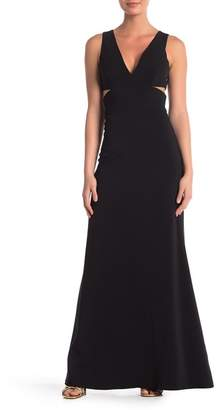 Laundry by Shelli Segal V-Neck Cutout Crepe Gown