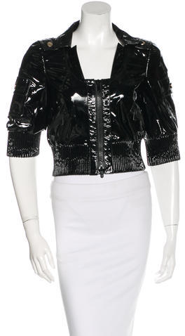 GucciGucci Cropped Patent Leather Jacket