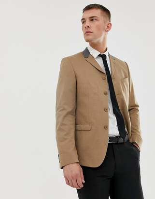 Asos DESIGN Skinny Four Button Blazer in Camel