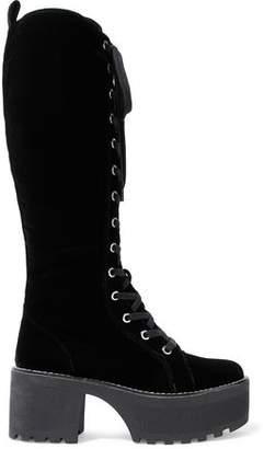 Alice + Olivia Lace-Up Velvet Platform Knee Boots