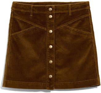 Madewell Corduroy A-Line Snap Miniskirt
