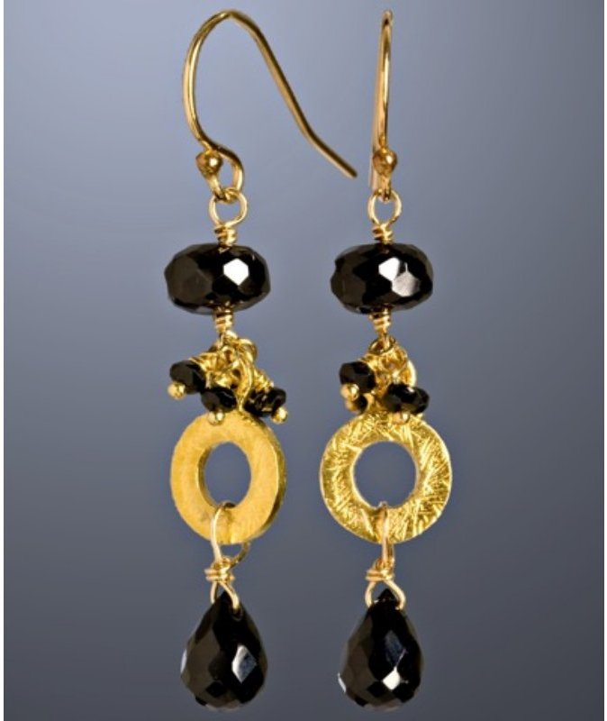 Nancy Cohen black garnet cluster circle drop earrings