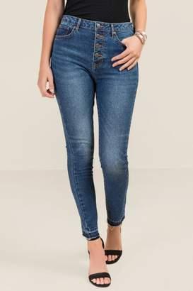 francesca's Harper Heritage High Rise Button Front Jeans - Medium Wash