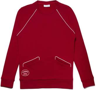 Lacoste Women's Crew Neck Piped Crepe Fleece Sweatshirt