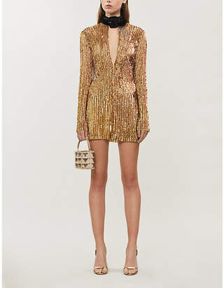 ATTICO Halterneck sequinned dress