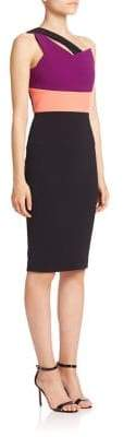 Roland Mouret Latymer One-Shoulder Colorblock Sheath Dress