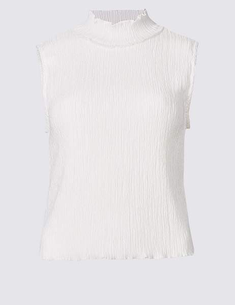 Textured Turtle Neck Shell Top