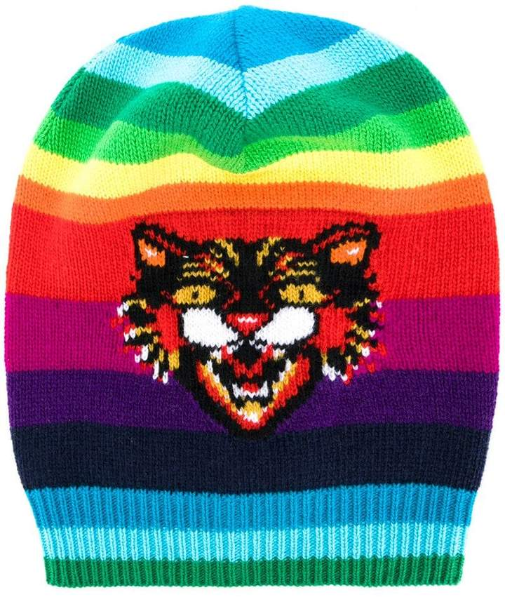 Gucci GG Angry Cat rainbow beanie