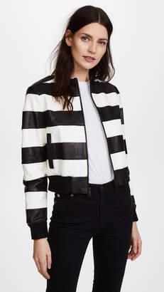 Alice + Olivia Nixon Mock Collar Leather Jacket