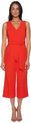 Vince Camuto Sleeveless V-Neck Belted Poly Base Jumpsuit Women's Jumpsuit & Rompers One Piece