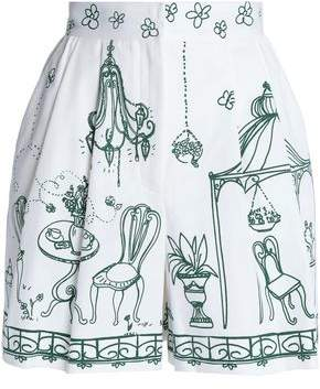 Dolce & Gabbana Pleated Printed Stretch-Cotton Twill Shorts