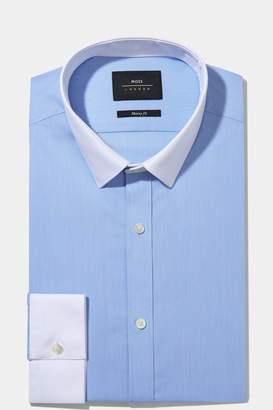 ebc60f2b160 Next Mens Moss London Skinny Fit Sky Contrast Collar And Cuff Shirt