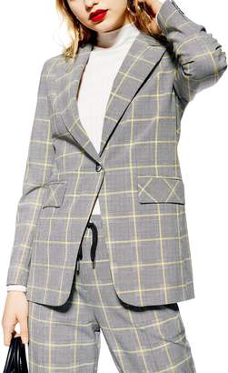 Topshop Windowpane Check Suit Jacket