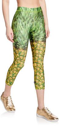 Terez Pineapple Printed Capri Performance Leggings