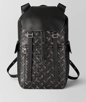 Bottega Veneta NERO/DARK LEATHER INTRECCIATO MICRODOTS SASSOLUNGO BACKPACK