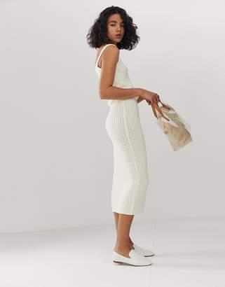 Asos Design DESIGN co-ord textured knit midi skirt
