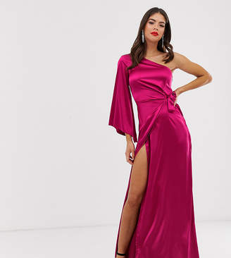 f7a0471d099 Missguided Tall one shoulder drape maxi dress in raspberry