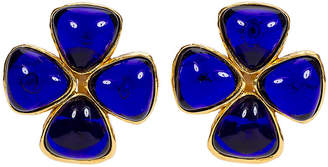 One Kings Lane Vintage Chanel Blue Gripoix Clover Clip Earrings - Vintage Lux