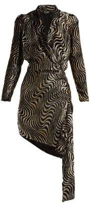 Dodo Bar Or - Ava Asymmetric Lamé And Velvet Dress - Womens - Black Gold