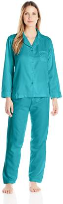 Miss Elaine Women's Brushed Back Satin Pajama Set