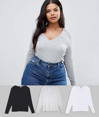 Asos DESIGN Curve ultimate top with long sleeve and v-neck 3 pack SAVE
