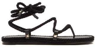 Valentino Satin Rope Wraparound Sandals - Womens - Black